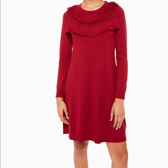 kate spade Dresses & Skirts - Kate Spade Deep Red Fringe Sweater Dress